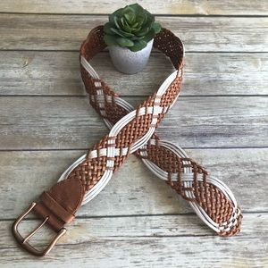LINEA PELLE Chunky Braided Handmade Leather Belt